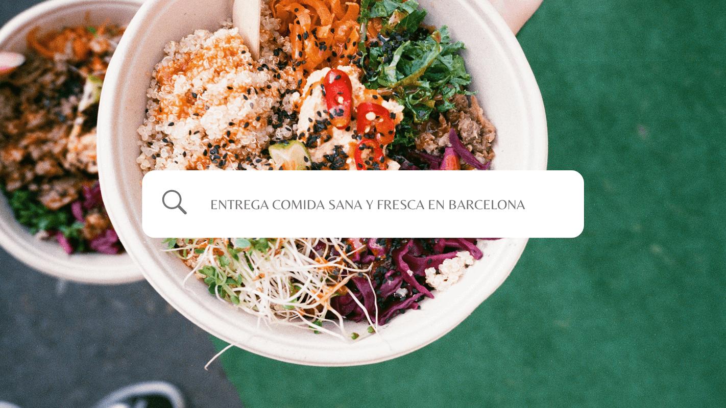 buscador de entrega de comida fresca y sana en coworking, con la foto de un bowl de vegetales de fondo