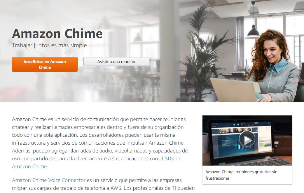 Página de inscripción al servicio de videollamadas de pago de Amazon Chime,
