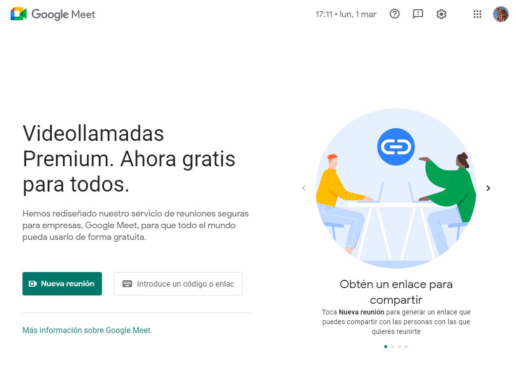 Página de creación de videollamada en Google Meet