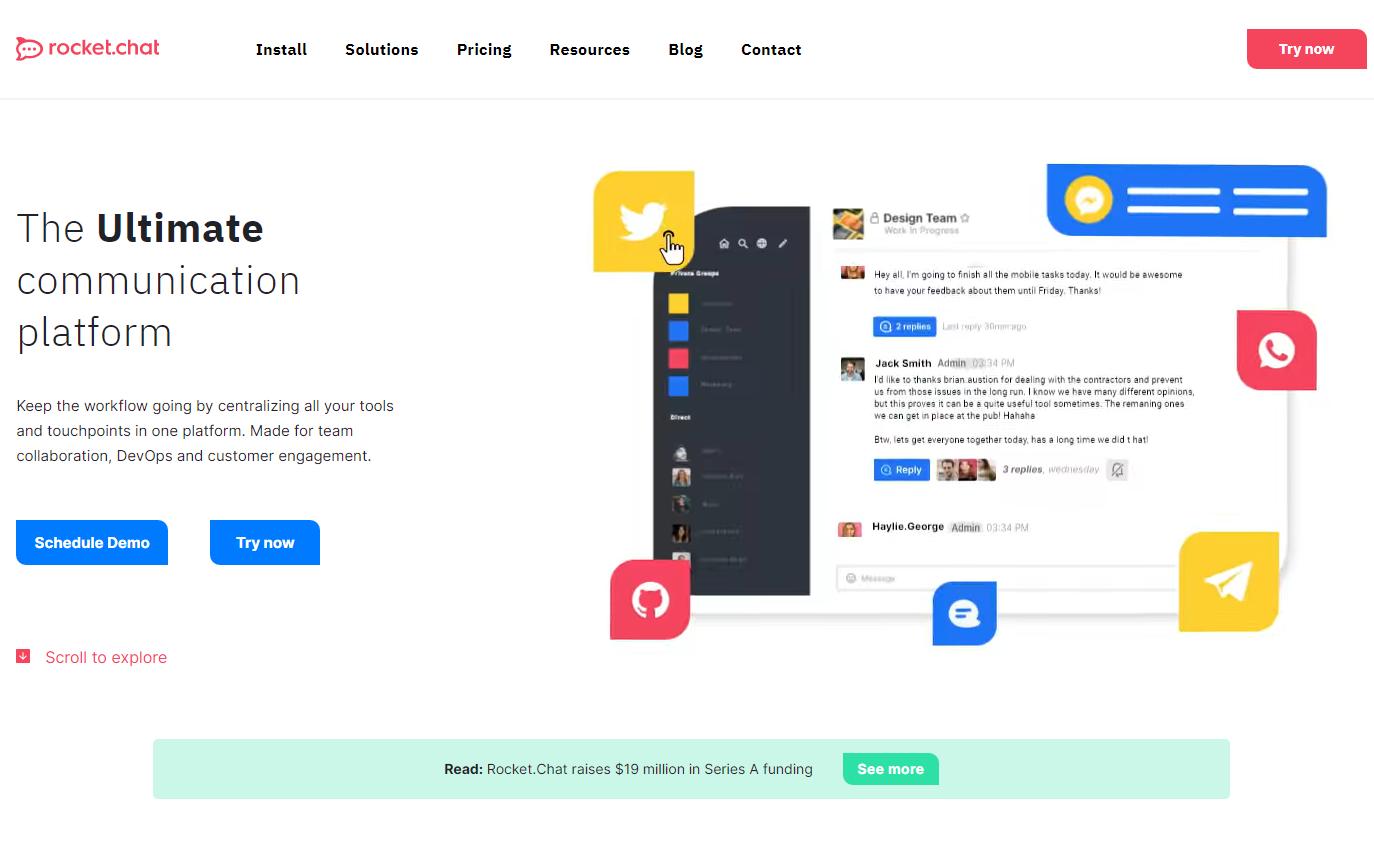 Página de descripción del servicio Rocket Chat, que permite tener una visión clara del workflow y tener una comunicación fluida en línea