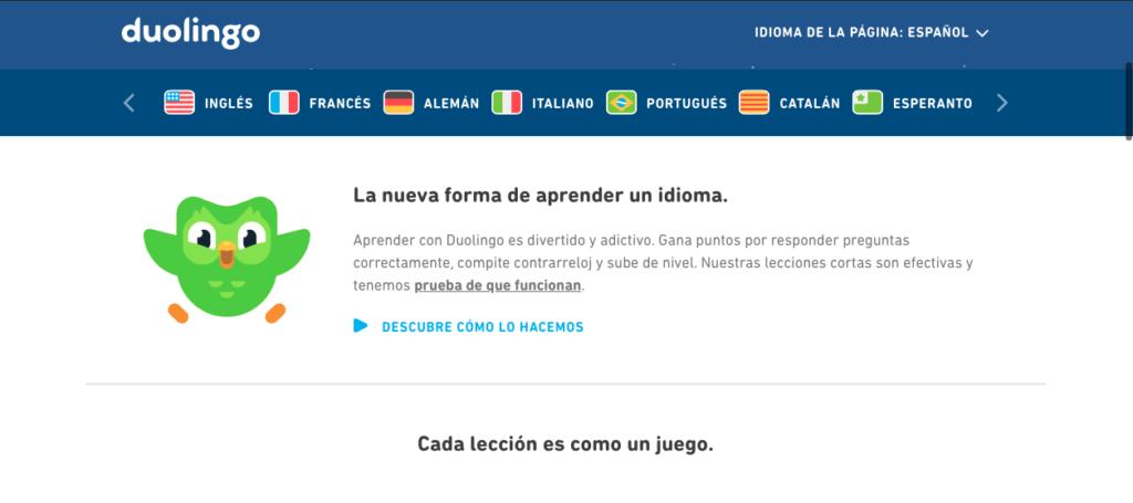 Captura de pantalla aplicación Duolingo
